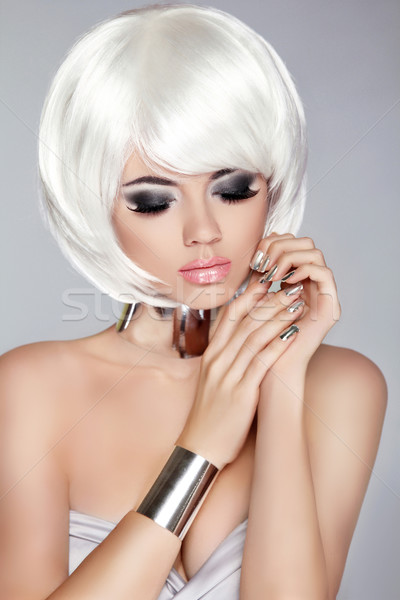 Smoky eye makeup. White Bob Hairstyle. Fashion blong girl model. Stock photo © Victoria_Andreas