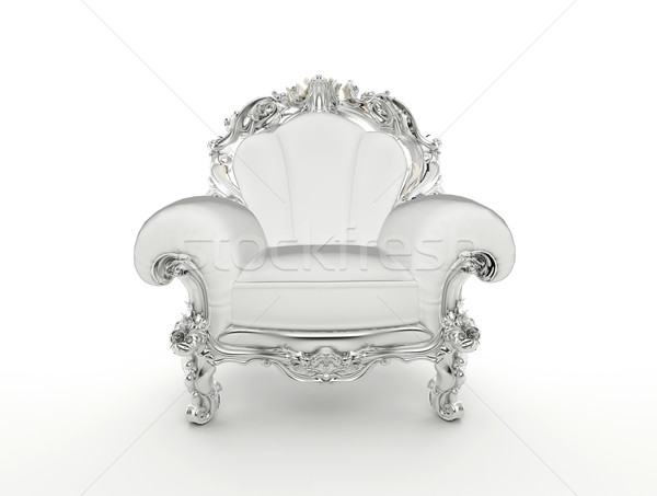 Luxuty baroque armchair with silver frame isolated on white back Stock photo © Victoria_Andreas