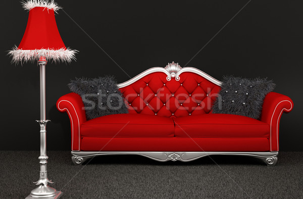 Sofa with furry pillows and standard lamp on dark background Stock photo © Victoria_Andreas