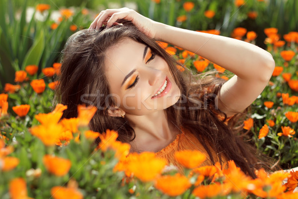 Stock photo: Enjoyment - free smiling woman enjoying happiness. Beautiful wom
