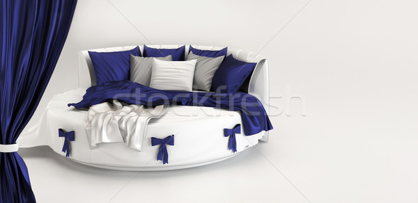 Stockfoto: Tentoonstelling · moderne · bed · interieur · witte · slaapkamer