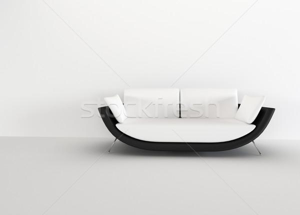 Modern sofa in in a bright empty living room - rendering. minima Stock photo © Victoria_Andreas