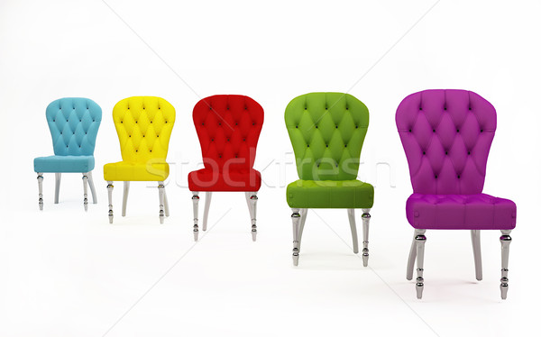 Perspective of colored fabric chairs. Modern Furniture Stock photo © Victoria_Andreas