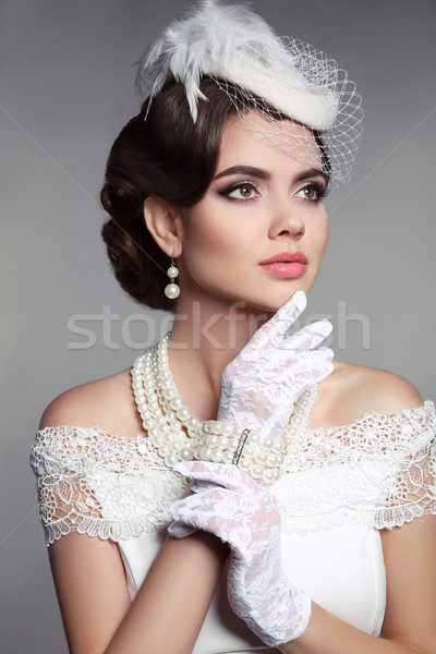 Fashion Retro elegant woman portrait. Wedding photo of beautiful Stock photo © Victoria_Andreas