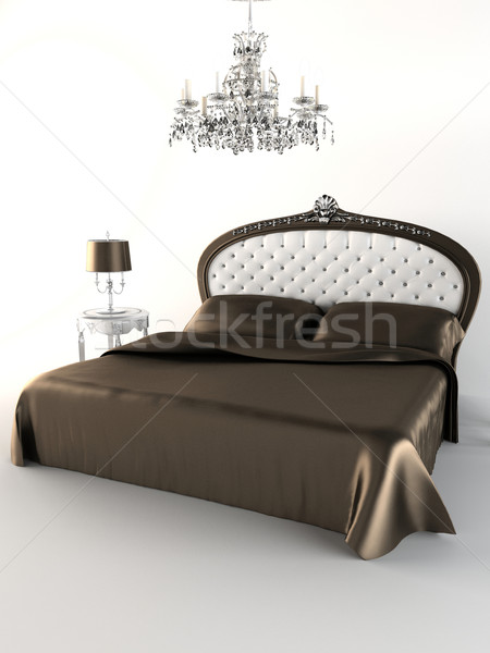 Royal bedroom. Bed. Chandelier Stock photo © Victoria_Andreas