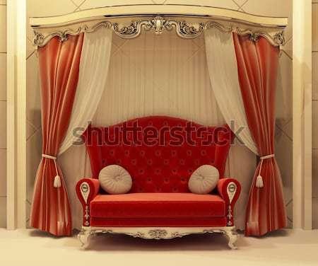 Stockfoto: Luxe · fauteuil · moderne · interieur · appartement · barok