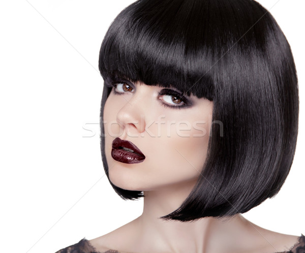 Fashion Brunette Girl. Black Healthy Hair. Bob Hairstyle. Makeup Stock photo © Victoria_Andreas