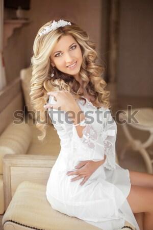 красивой Sexy невеста свадьба портрет вьющиеся волосы Сток-фото © Victoria_Andreas