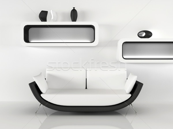 Modern sofa with decoration in minimalism interior. Apartment Stock photo © Victoria_Andreas