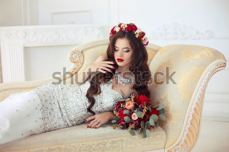 Fashion beauty portrait of beautiful sensual blond woman with ma Stock photo © Victoria_Andreas