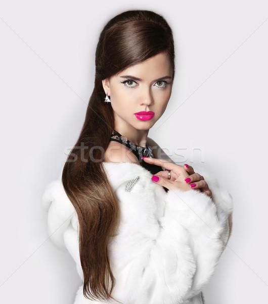 Uzun saçlı makyaj güzel şehvetli kadın beyaz Stok fotoğraf © Victoria_Andreas