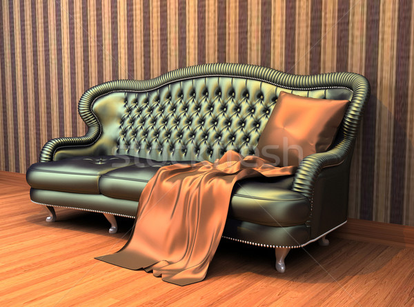 Sofa with pillow and coverlet in interior with  stripped wallpap Stock photo © Victoria_Andreas