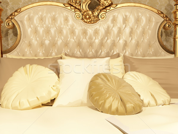 Pillows and button back of bed in luxurious bedroom interior. Ho Stock photo © Victoria_Andreas