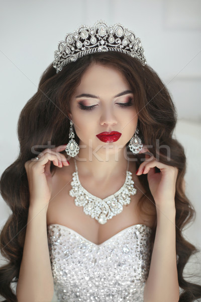 Beautiful bride makeup, fashion jewelry. Elegant brunette woman  Stock photo © Victoria_Andreas