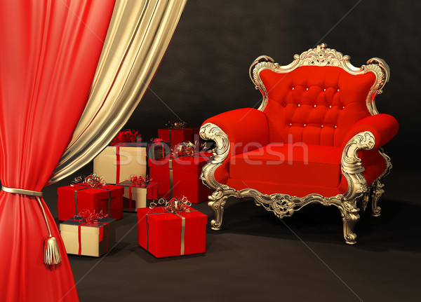 Royal armchair with gift wrapping Stock photo © Victoria_Andreas