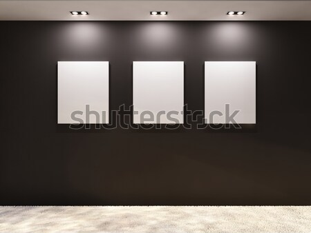 Gallery. Empty frames on a black wall in interior Stock photo © Victoria_Andreas