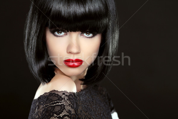 Beautiful Woman With Black Short Hair. Haircut. Hairstyle. Fring Stock photo © Victoria_Andreas