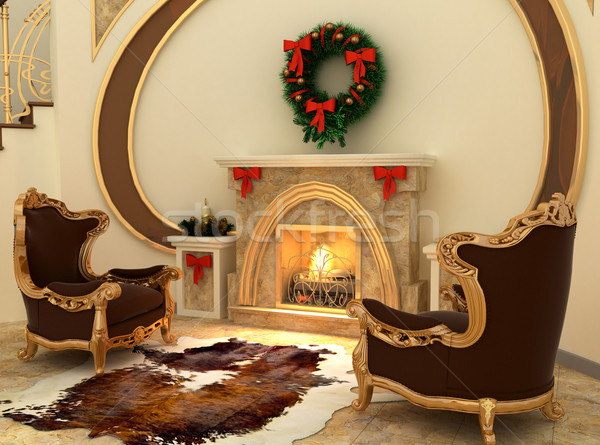 Armchairs by fireplace with Christmas-tree decorations in comfor Stock photo © Victoria_Andreas