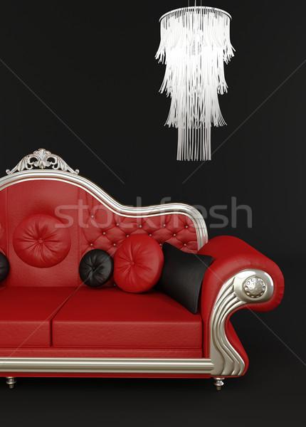 Stok fotoğraf: Kırmızı · deri · kanepe · avize · sanat · dinlenmek