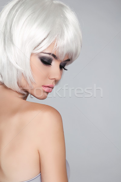 Fashion Beauty Portrait Woman. White Short Hair. Isolated on Gre Stock photo © Victoria_Andreas