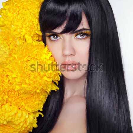 Long wavy hair. Fashion Beauty Girl Portrait Isolated on yellow  Stock photo © Victoria_Andreas