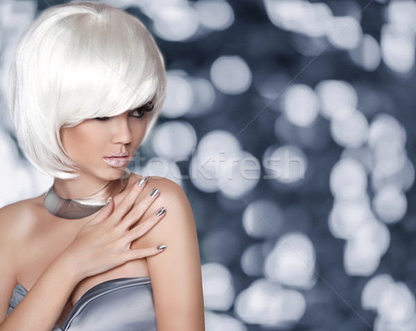 White Bob Hairstyle. Fashion Blond Girl. Glamour Woman portrait  Stock photo © Victoria_Andreas