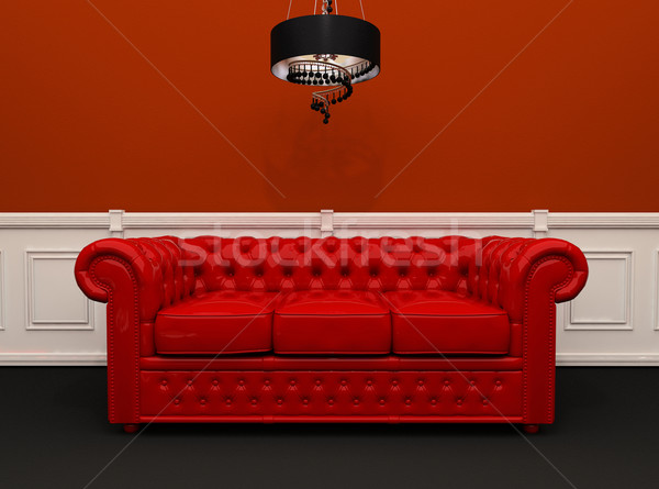 Red leather sofa with chandelier in original interior Stock photo © Victoria_Andreas