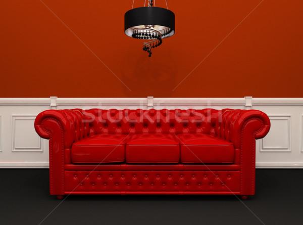 Rosso pelle divano lampadario originale interni Foto d'archivio © Victoria_Andreas