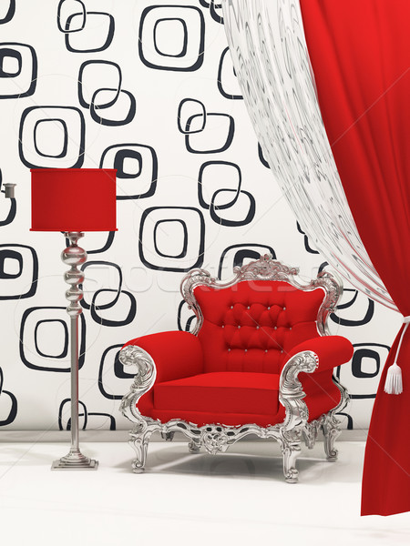 Luxury armchair with standard lamp isolated on abstract wallpape Stock photo © Victoria_Andreas