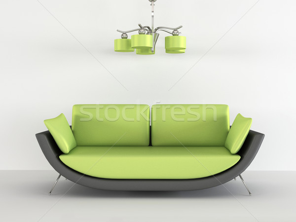 Loft sofa with chandelier in minimalism interior Stock photo © Victoria_Andreas