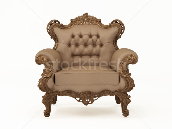 Luxury and leather modern armchair with bronze frame on the whit Stock photo © Victoria_Andreas