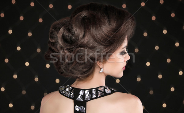 Hairstyle. Brunette woman with wavy retro hair styling. Fashion  Stock photo © Victoria_Andreas