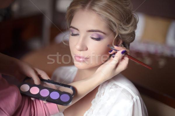美しい 花嫁 少女 結婚式 化粧 ヘアスタイル ストックフォト © Victoria_Andreas