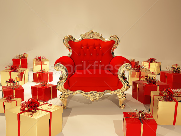 Royal armchair with golden frame and gift box Stock photo © Victoria_Andreas