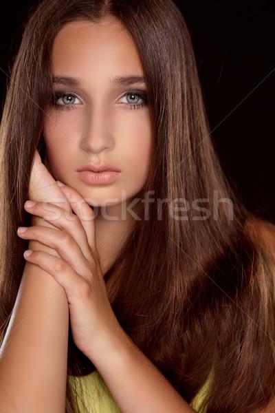 Hosszú haj szépség nő egészséges barna haj modell Stock fotó © Victoria_Andreas