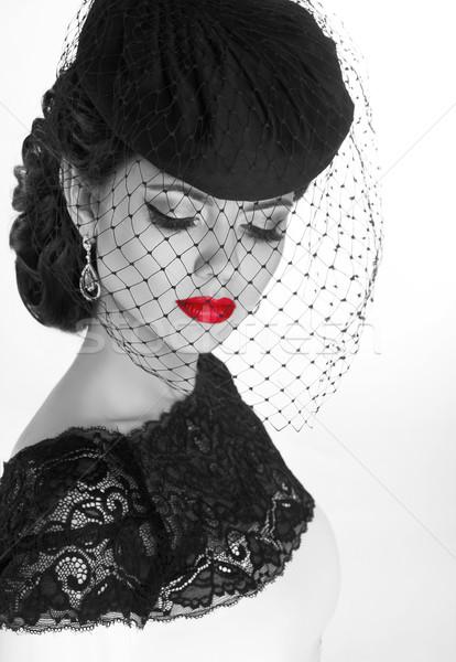 Retro woman. Fashion model girl portrait. Black and white photo. Stock photo © Victoria_Andreas