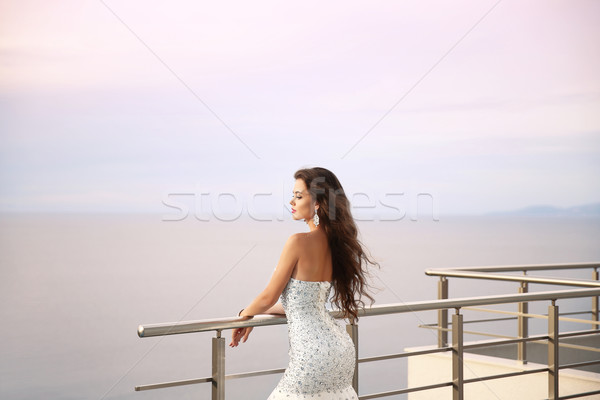 Wedding portrait of Beautiful bride girl in beaded luxurious dre Stock photo © Victoria_Andreas