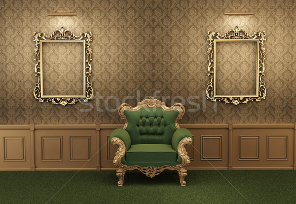 Armchair with luxurious frame in baroque interior Stock photo © Victoria_Andreas
