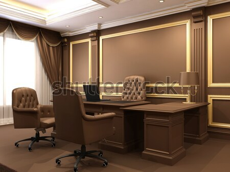 Modern office in wooden royal interior space Stock photo © Victoria_Andreas