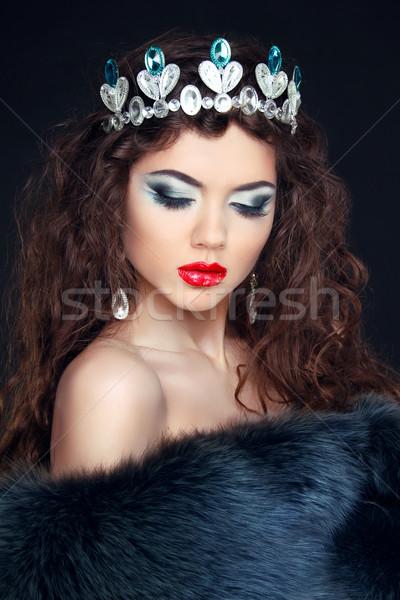 Güzellik model kadın kürk elmas Stok fotoğraf © Victoria_Andreas