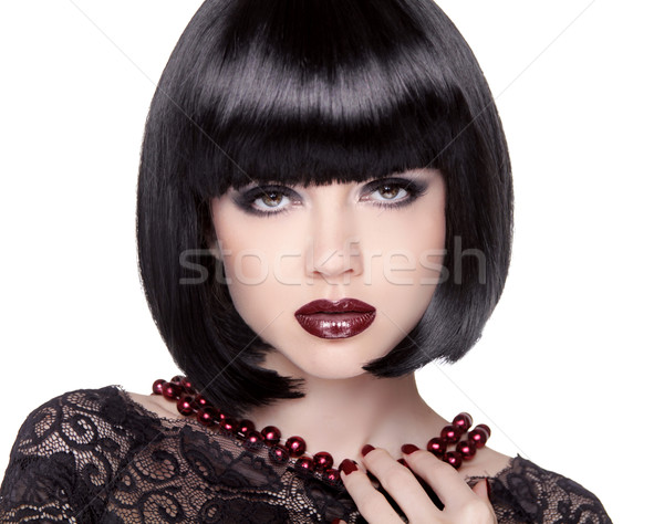 Fashion Brunette Girl model with Black bob hairstyle. Lady vamp. Stock photo © Victoria_Andreas