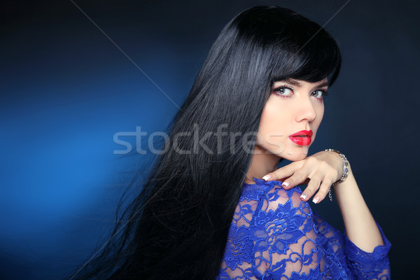 Belle cheveux brunette femme longtemps brillant Photo stock © Victoria_Andreas