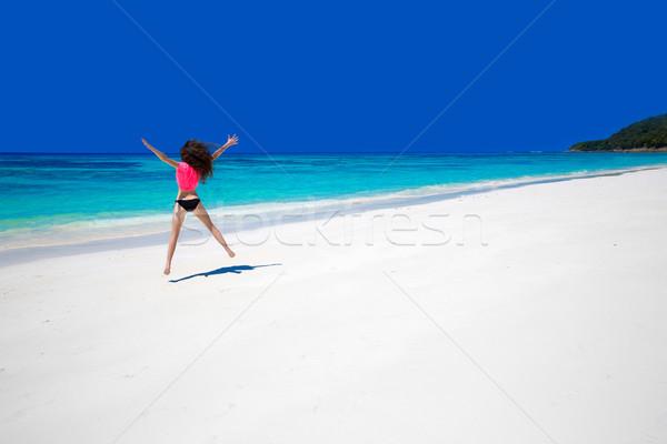 Сток-фото: жизни · счастливым · женщину · прыжки · экзотический