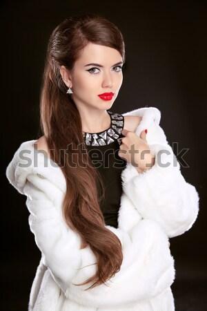 моде модель женщину шуба открытых корзина Сток-фото © Victoria_Andreas