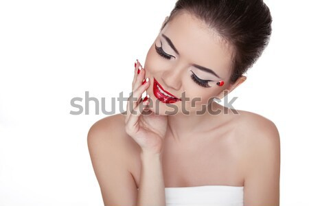 Beauty Vogue Style Fashion Model Girl with Long Lushes. Manicure Stock photo © Victoria_Andreas