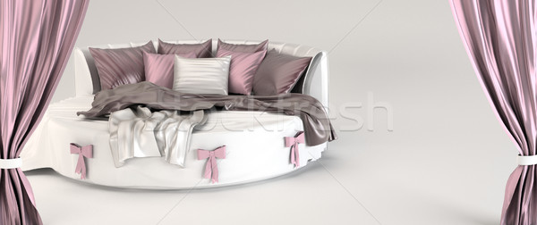 Round bed with pillows and silk  coverlet. Opened curtain. Demon Stock photo © Victoria_Andreas