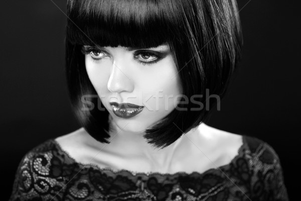 Retro woman portrait. Fashion model girl face. Bob hairstyle. Bl Stock photo © Victoria_Andreas