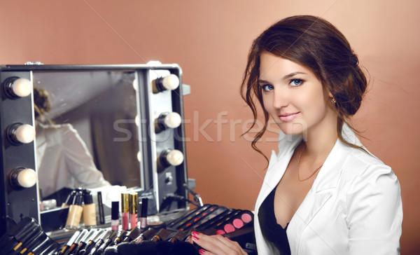 Szépség sminkmester nő kozmetika tükör öntet Stock fotó © Victoria_Andreas