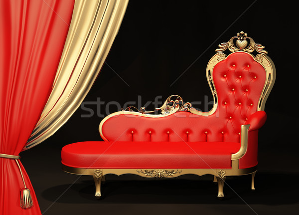 Royal sofa with gold frame. Curtain. Stock photo © Victoria_Andreas