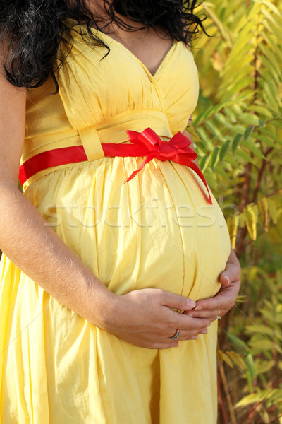Embarazadas vientre amarillo vestido mujer Foto stock © Victoria_Andreas